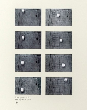 Hassan Sharif's Drawing Squares on the Floor Using a Cube (1982). Courtesy of the artist and Gallery Isabelle van den Eynde